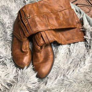 Brown over the ankle boots
